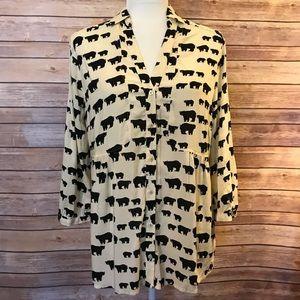 """""""Maeve"""" woodland black bear 3/4 sleeve blouse"""